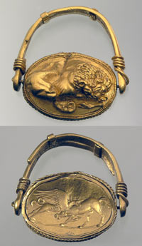 Signet ring with lion and griffin
